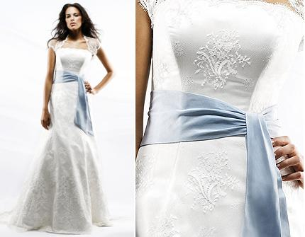 Blue Sash Wedding Dresses